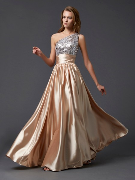 A-Line/Princess Champagne Elastic Woven Satin Floor-Length Dresses with Paillette