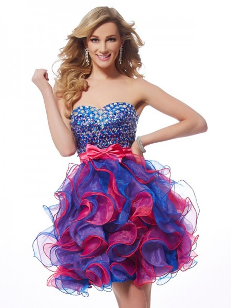 A-Line/Princess Fuchsia Organza Short/Mini Homecoming Dresses with Sequin