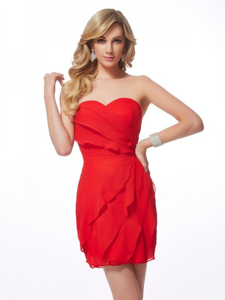 Sheath/Column Red Chiffon Short/Mini Homecoming Dresses with Ruffles