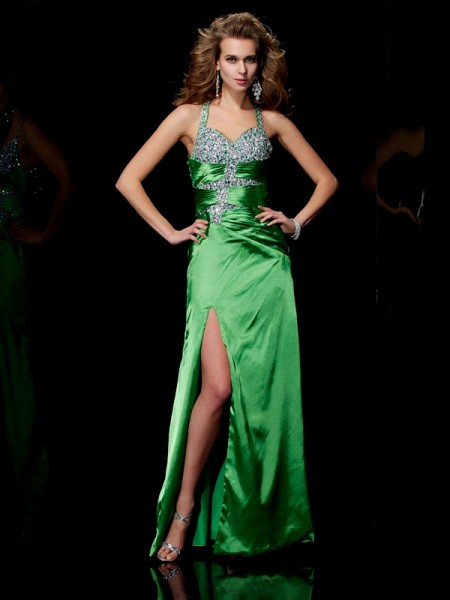 Sheath/Column Green Elastic Woven Satin Sweep/Brush Train Dresses with Beading