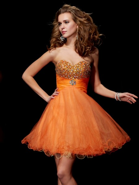 A-Line/Princess Orange Satin , Organza Short/Mini Homecoming Dresses with Beading