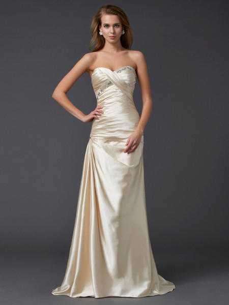 Sheath/Column Champagne Elastic Woven Satin Sweep/Brush Train Dresses with Beading