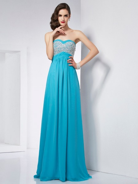 A-Line/Princess Blue Chiffon Floor-Length Dresses with Other