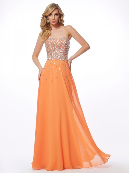 A-Line/Princess Orange Chiffon Floor-Length Dresses with Rhinestone