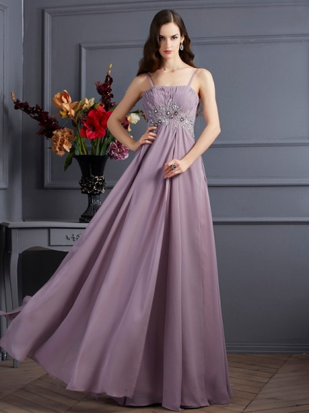 Empire Brown Chiffon Floor-Length Dresses with Beading