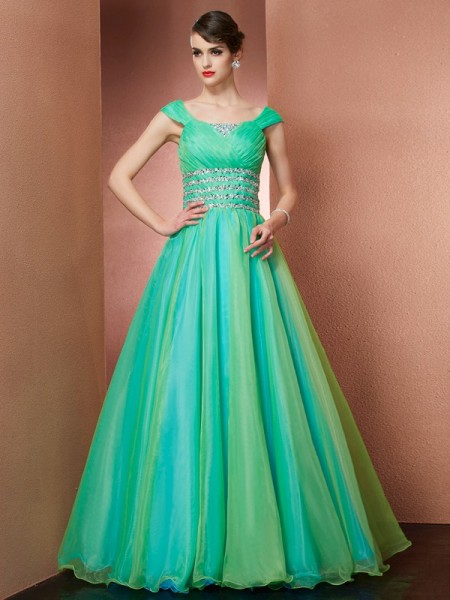 Ball Gown Green Satin Floor-Length Dresses with Beading