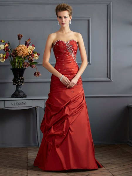 Trumpet/Mermaid Burgundy Taffeta Floor-Length Dresses with Beading