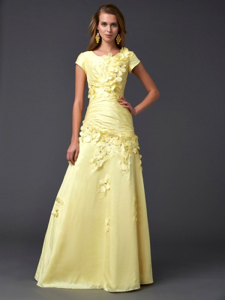 Sheath/Column Yellow Taffeta Floor-Length Dresses with Other