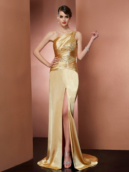 Sheath/Column Gold Elastic Woven Satin Sweep/Brush Train Dresses with Beading