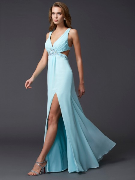 Sheath/Column Blue Chiffon Floor-Length Dresses with Beading