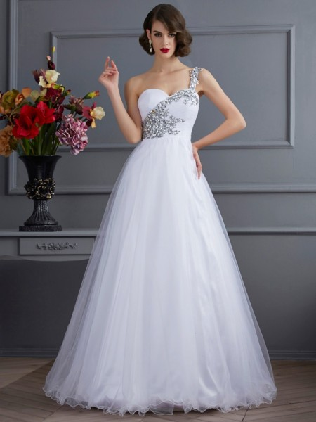 Ball Gown White Elastic Woven Satin Floor-Length Dresses with Beading