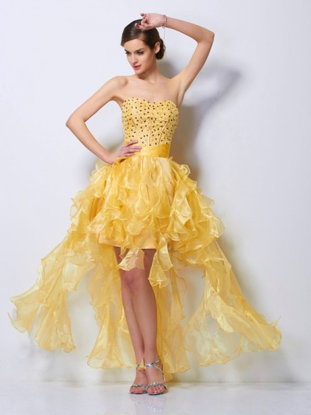 A-Line/Princess Daffodil Tulle Asymmetrical Homecoming Dresses with Beading