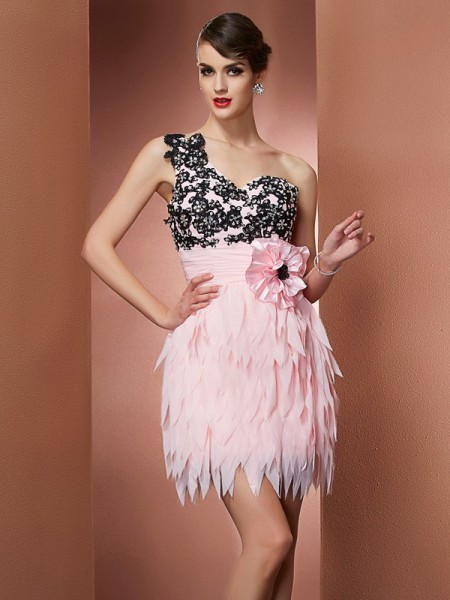 A-Line/Princess Pink Chiffon Short/Mini Homecoming Dresses with Hand-Made Flower