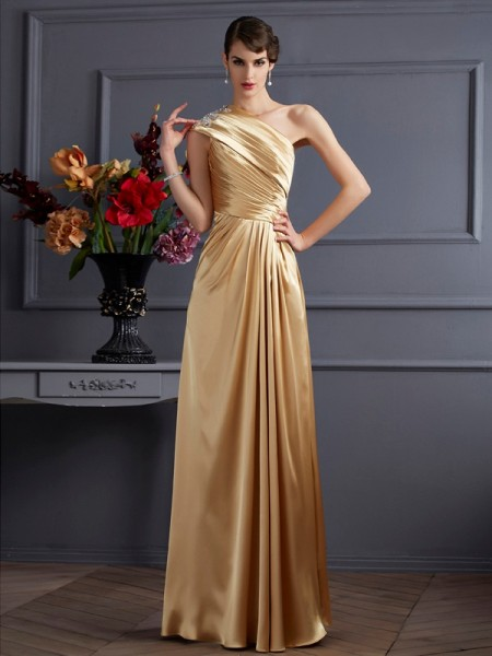 A-Line/Princess Gold Elastic Woven Satin Floor-Length Dresses with Beading