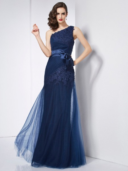 A-Line/Princess Dark Navy Satin , Organza , Net Floor-Length Dresses with Applique