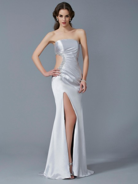 Trumpet/Mermaid Ivory Elastic Woven Satin Sweep/Brush Train Dresses with Beading