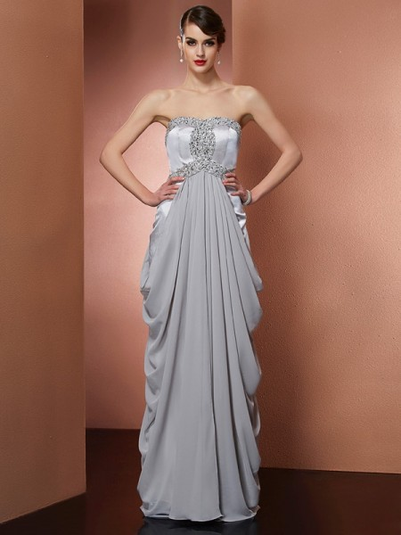 Sheath/Column Grey Chiffon Floor-Length Dresses with Beading
