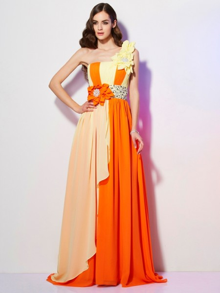 A-Line/Princess Multi Colors Chiffon Sweep/Brush Train Dresses with Beading