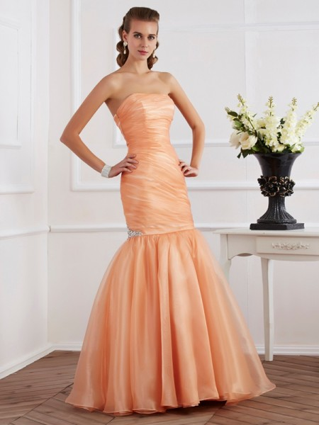 Trumpet/Mermaid Orange Tulle Floor-Length Dresses with Beading