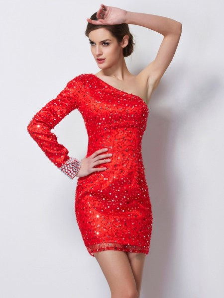 Sheath/Column Red Elastic Woven Satin Short/Mini Homecoming Dresses with Beading