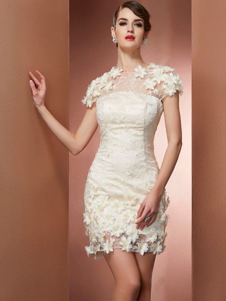 Sheath/Column Champagne Satin , Lace Short/Mini Homecoming Dresses with Other
