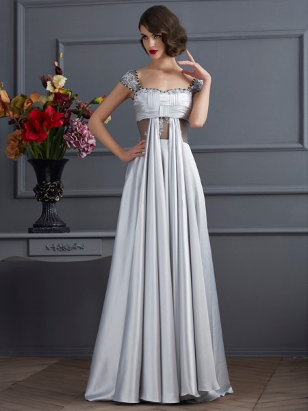 A-Line/Princess Silver Elastic Woven Satin Floor-Length Dresses with Pleats