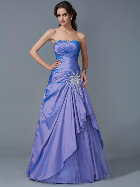 Trumpet/Mermaid Lavender Taffeta Floor-Length Dresses with Beading