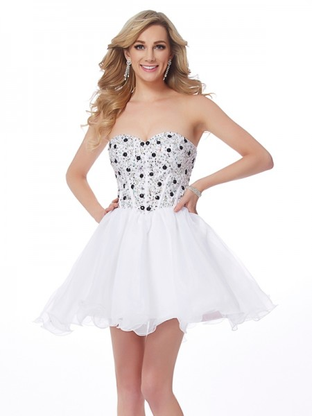 A-Line/Princess White Elastic Woven Satin Short/Mini Homecoming Dresses with Beading