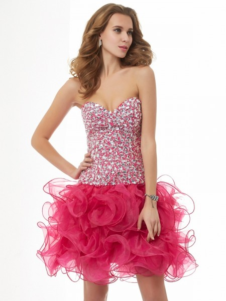 Sheath/Column Watermelon Organza Short/Mini Homecoming Dresses with Beading