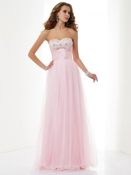 A-Line/Princess Pink Elastic Woven Satin , Net Floor-Length Dresses with Beading