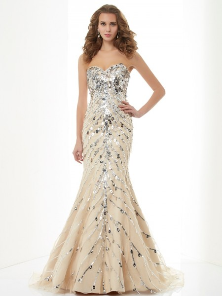 Trumpet/Mermaid Champagne Satin Sweep/Brush Train Dresses with Beading