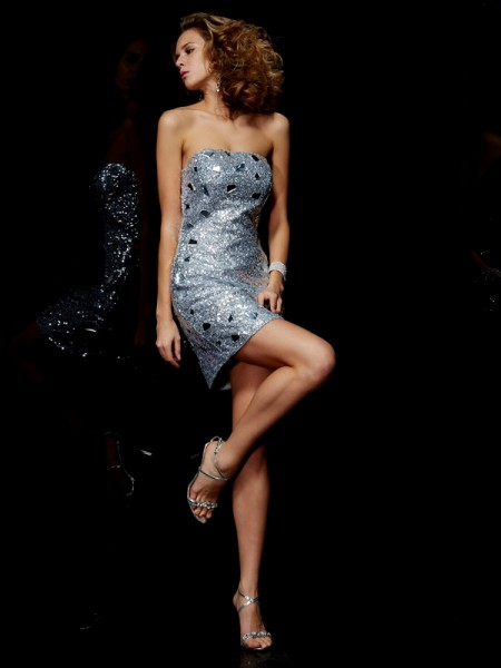 Sheath/Column Silver Lace Short/Mini Homecoming Dresses with Lace