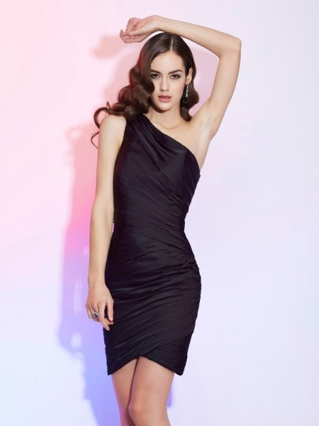 Sheath/Column Black Chiffon Short/Mini Homecoming Dresses with Pleats