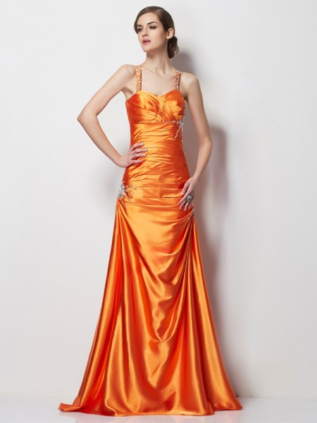 A-Line/Princess Orange Elastic Woven Satin Sweep/Brush Train Dresses with Beading