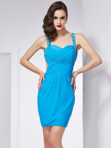 Sheath/Column Blue Chiffon Short/Mini Homecoming Dresses with Beading