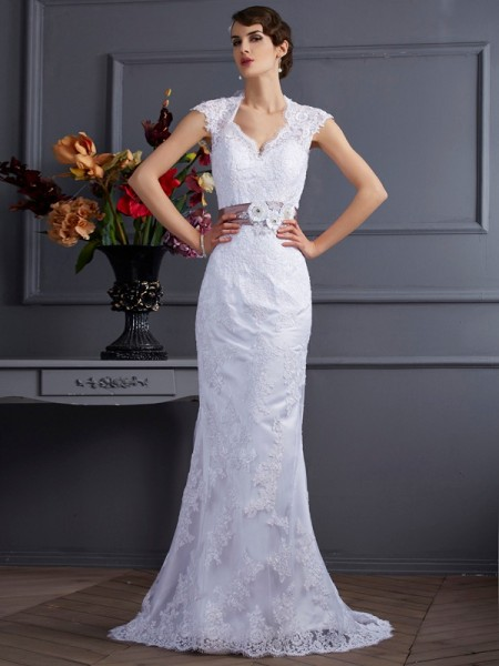 Trumpet/Mermaid White Satin Sweep/Brush Train Wedding Dresses with Applique