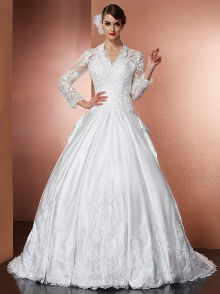 A-Line/Princess Ivory Satin Cathedral Train Wedding Dresses with Applique