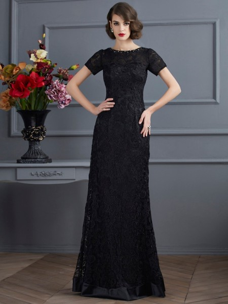 Sheath/Column Black Elastic Woven Satin , Lace Floor-Length Dresses with Lace