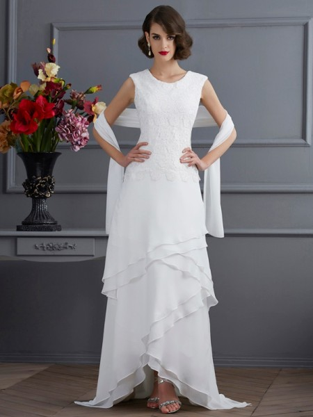 Sheath/Column Ivory Chiffon Asymmetrical Mother Of The Bride Dresses with Lace
