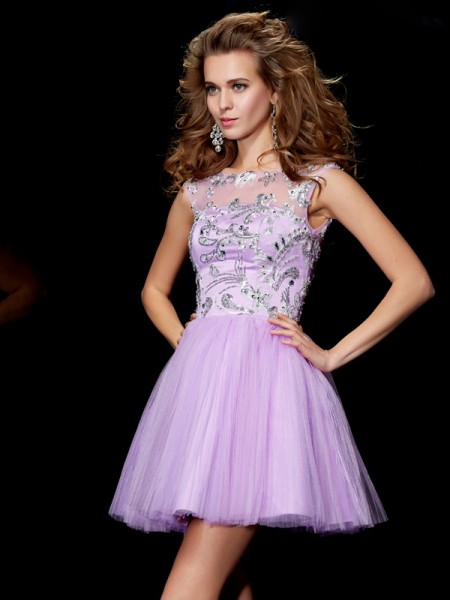 A-Line/Princess Lavender Satin Short/Mini Homecoming Dresses with Beading