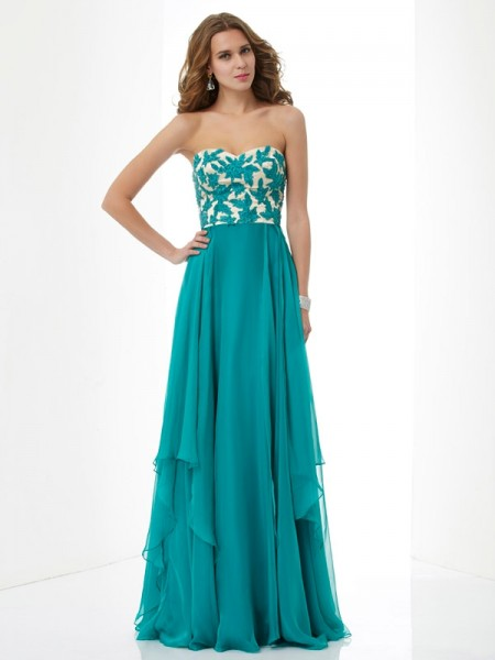 A-Line/Princess Green Chiffon Floor-Length Dresses with Applique