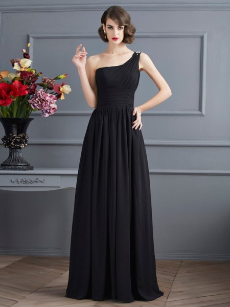 A-Line/Princess Black Chiffon Floor-Length Mother Of The Bride Dresses with Other