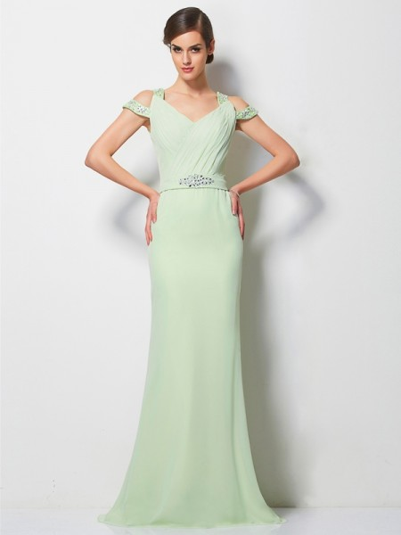 A-Line/Princess Sage Chiffon Sweep/Brush Train Dresses with Beading