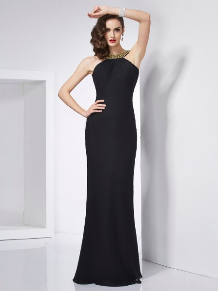 Trumpet/Mermaid Black Chiffon Floor-Length Dresses with Beading