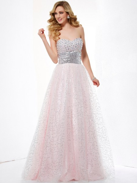 Ball Gown Pearl Pink Satin , Net Floor-Length Dresses with Other