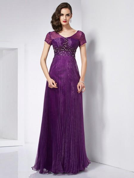 A-Line/Princess Regency Organza Floor-Length Dresses with Beading