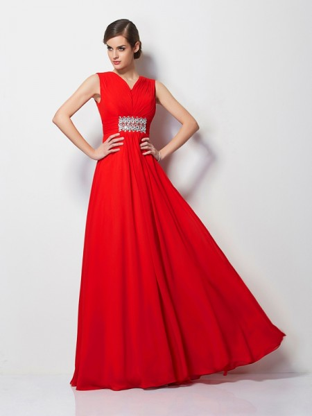 Sheath/Column Red Chiffon Floor-Length Dresses with Beading