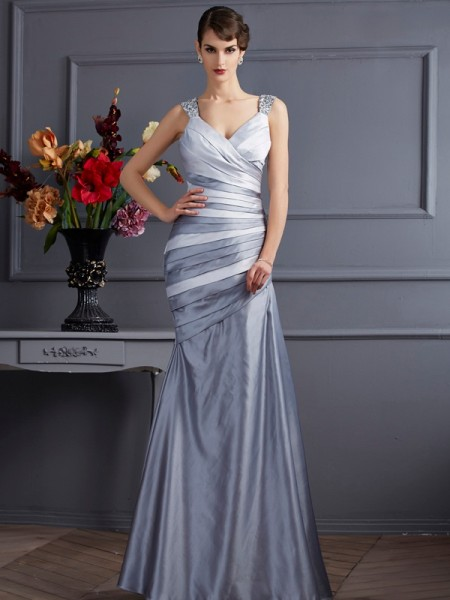 Trumpet/Mermaid Silver Satin Floor-Length Dresses with Pleats