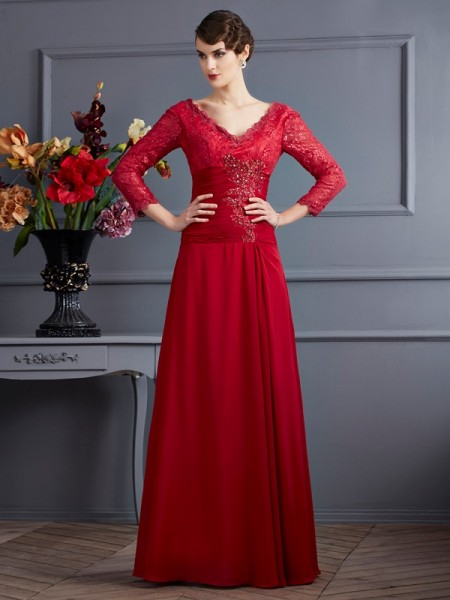 Sheath/Column Red Chiffon Floor-Length Dresses with Lace