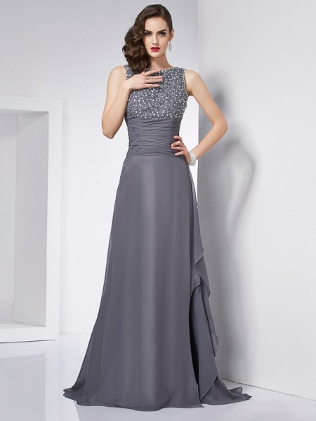 A-Line/Princess Grey Chiffon Sweep/Brush Train Dresses with Beading